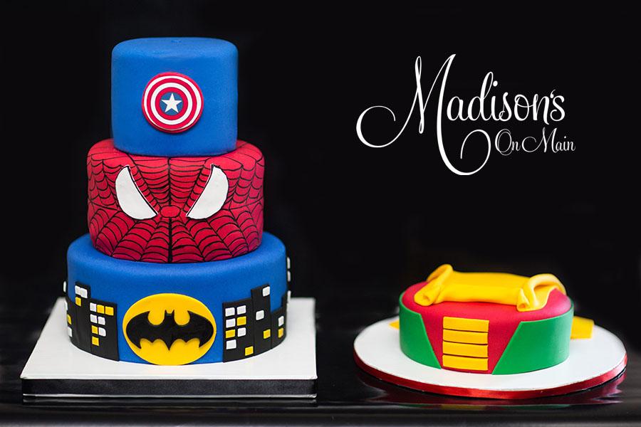 Superhero themed birthday cakes