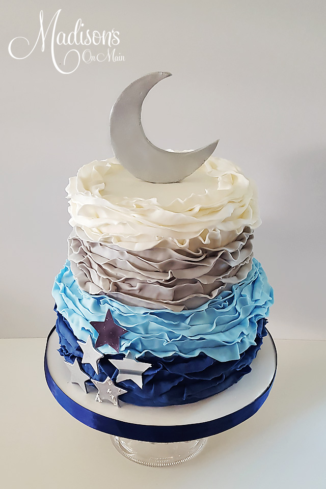 Blue ombre ruffle baby moon cake