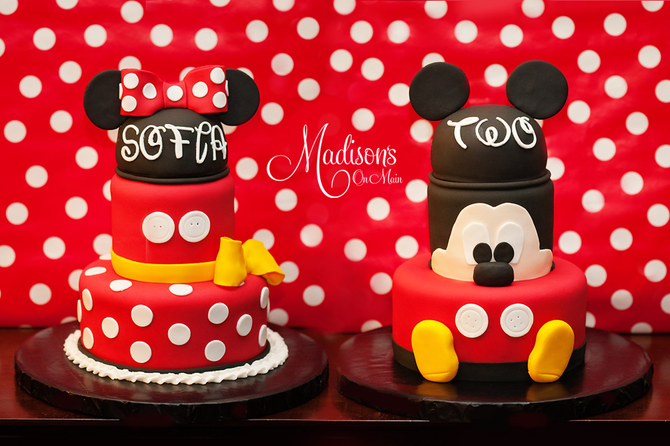 Minnie & Mickey Mouse birthday cake for twins
