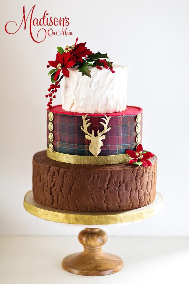 Rustic Tartan Christmas Wedding Cake