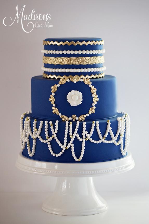 Blue Parisian Wedding cake with sugar pearls