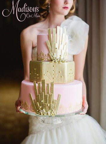Pink and gold art deco wedding cake