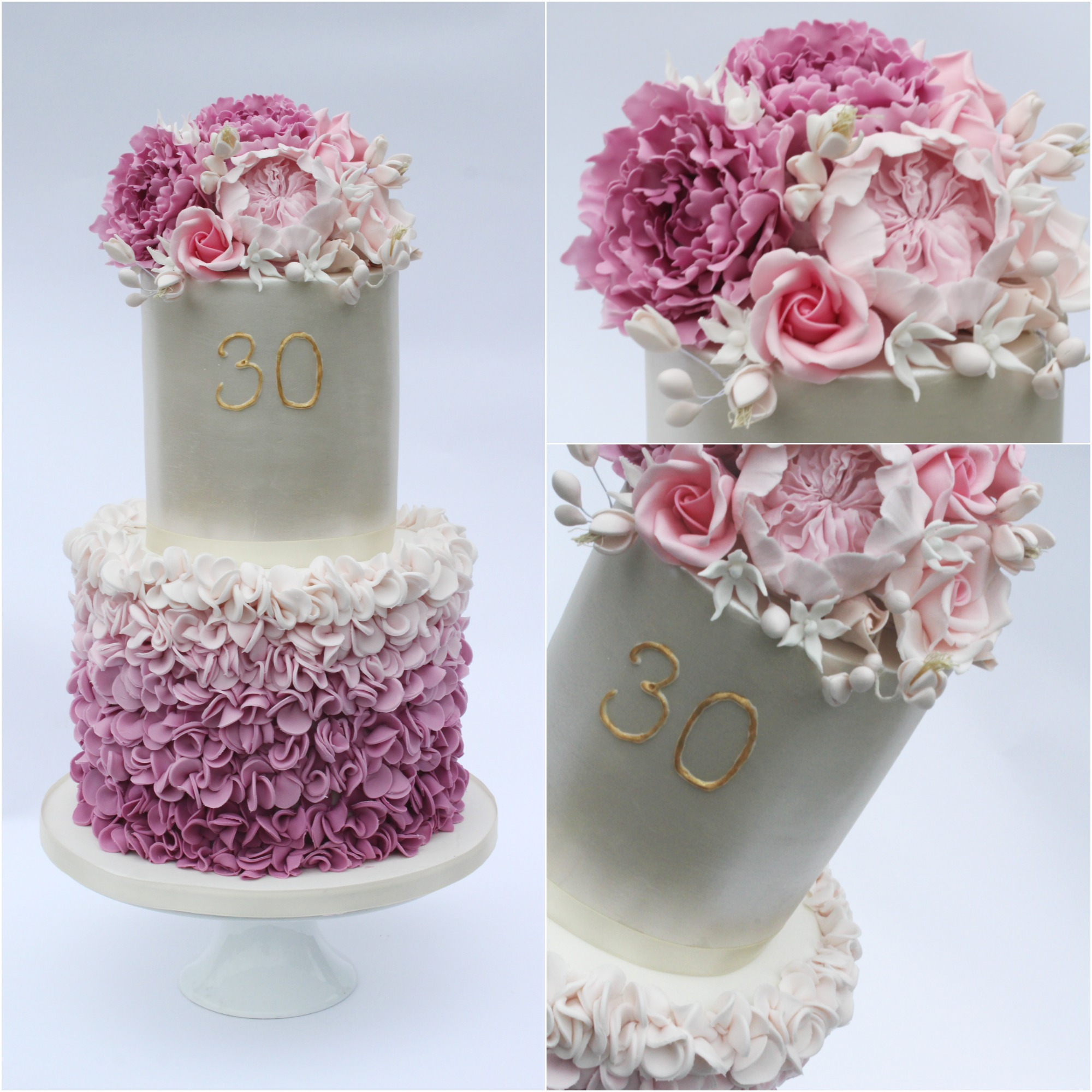 White and purple ombre birthday cake