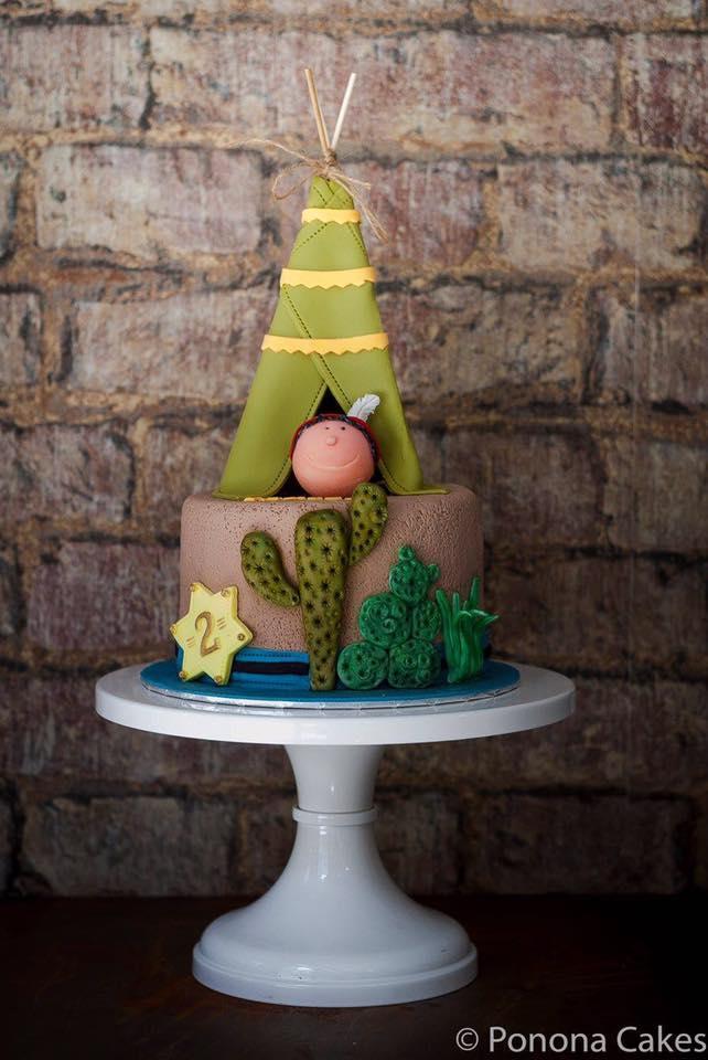 Tee pee fondant camping birthday cake