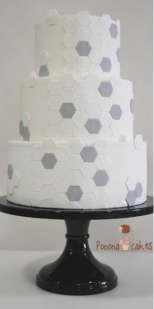 Gray and white geometric wedding