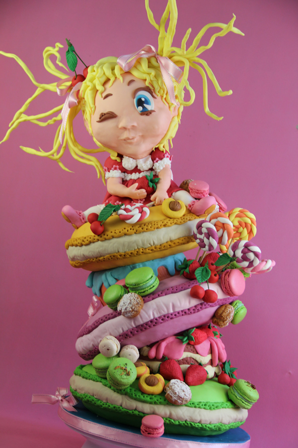 Little Girl & Candy Topsy Turvy Cake