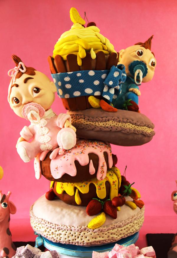 Baby with Snack Topsy Turvy Cake
