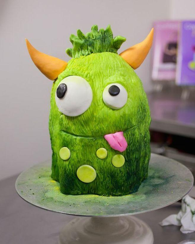 Bright Green Monster birthday cake