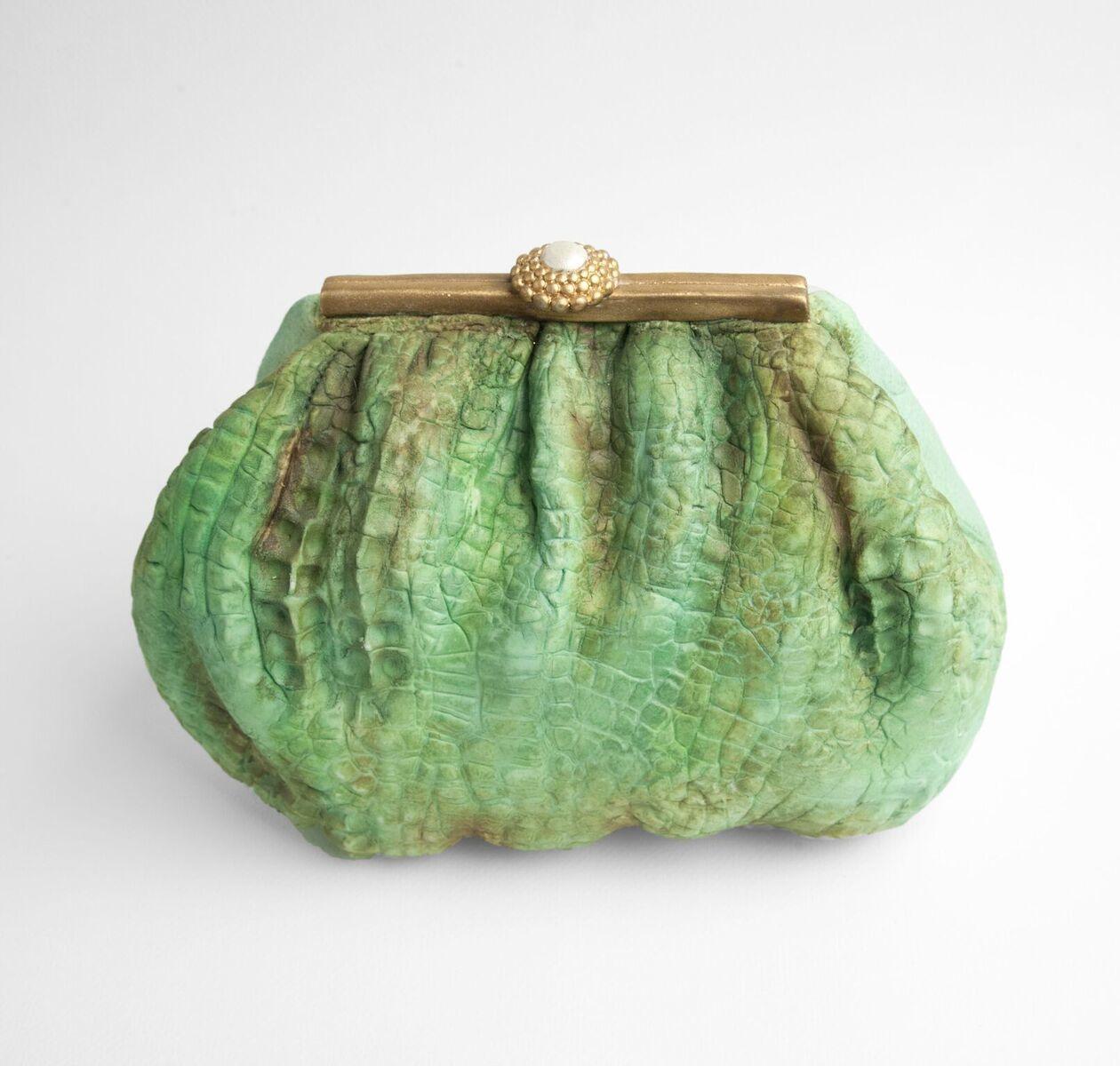 Green clutch bag cake
