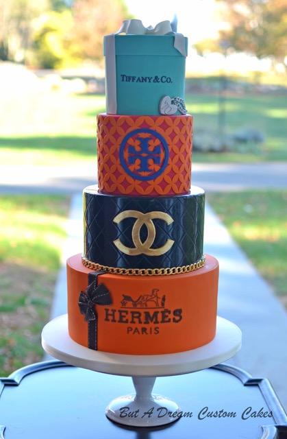 Luxury shopping themed birthday cake