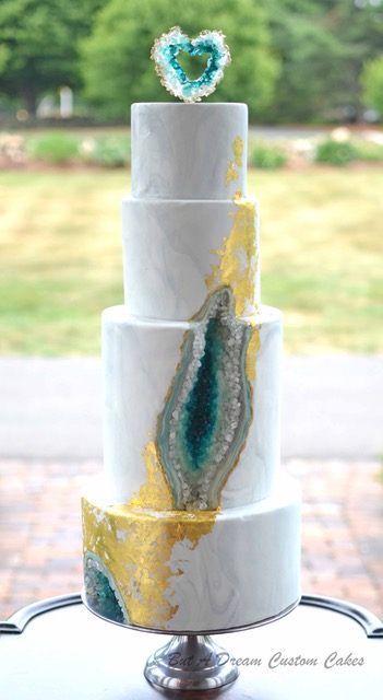 Gray and turquoise rock geode wedding cake