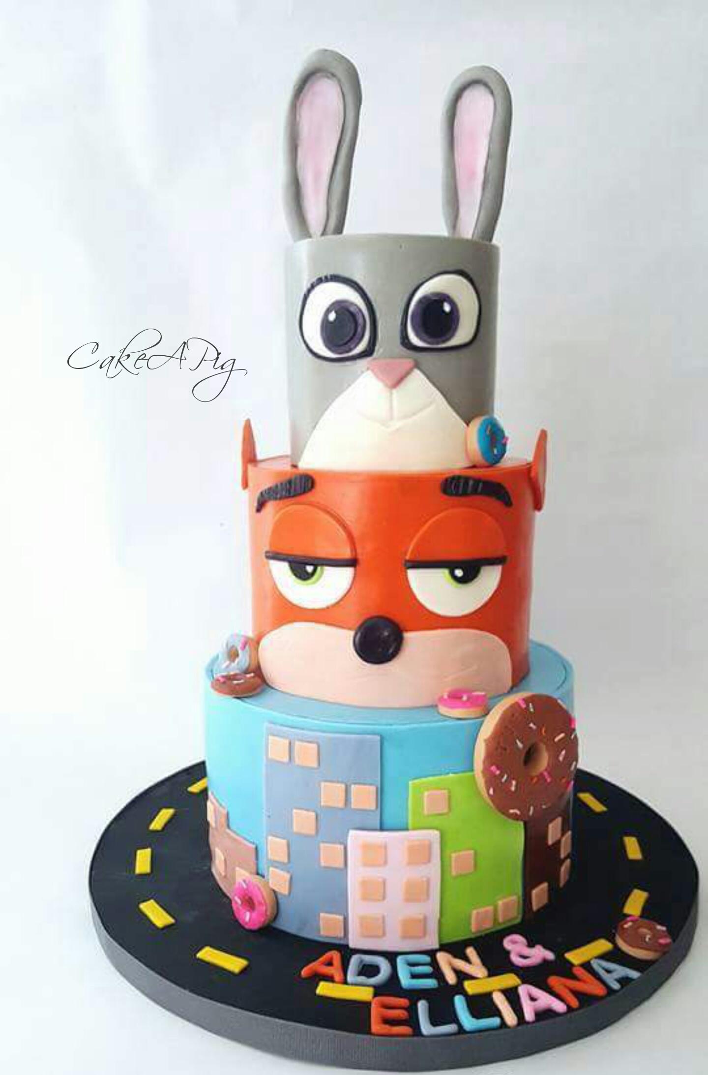 Zootopia themed birthday cake