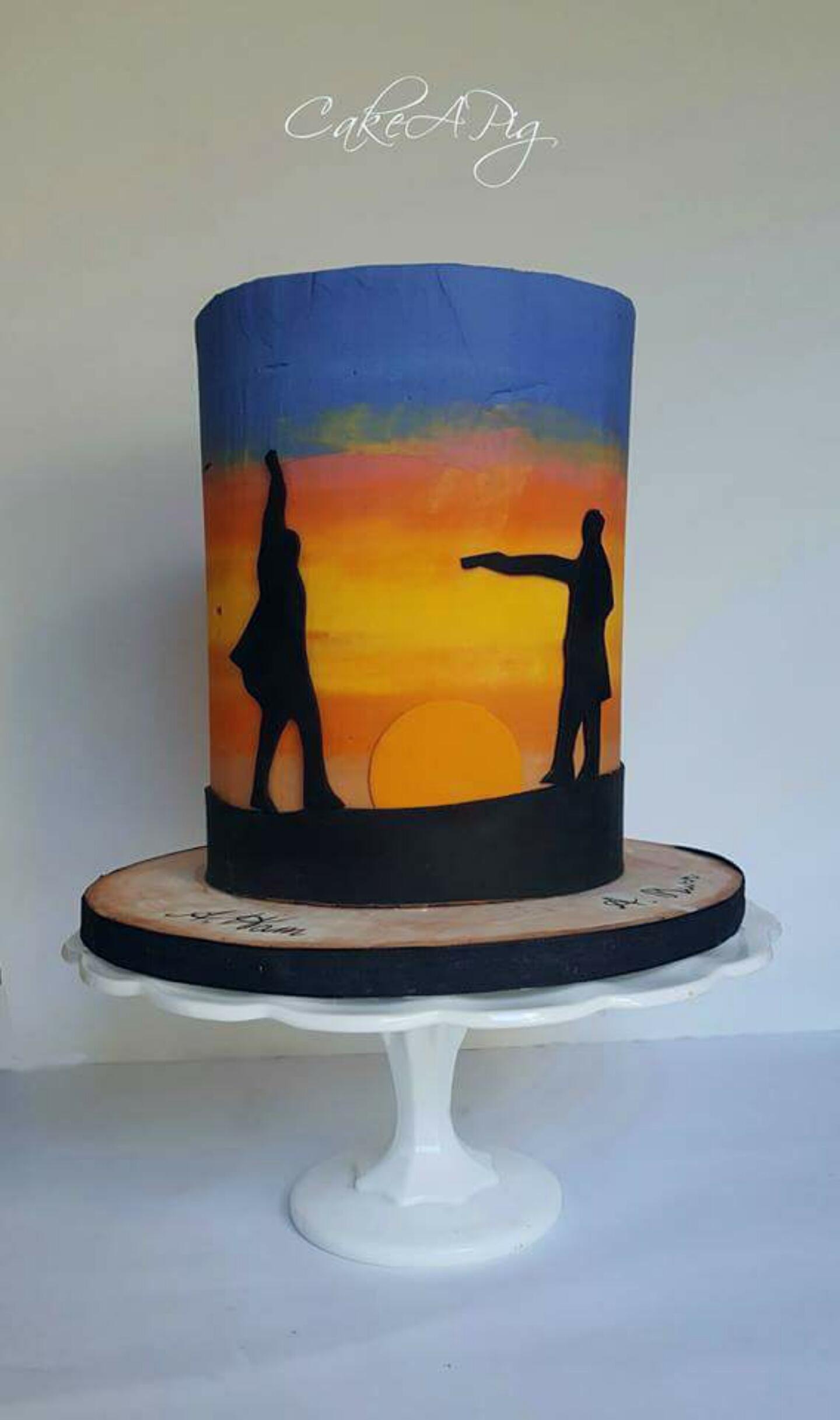 Summer sunset surfing barrel cake