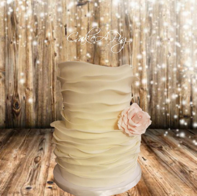 Ivory frill wedding cake