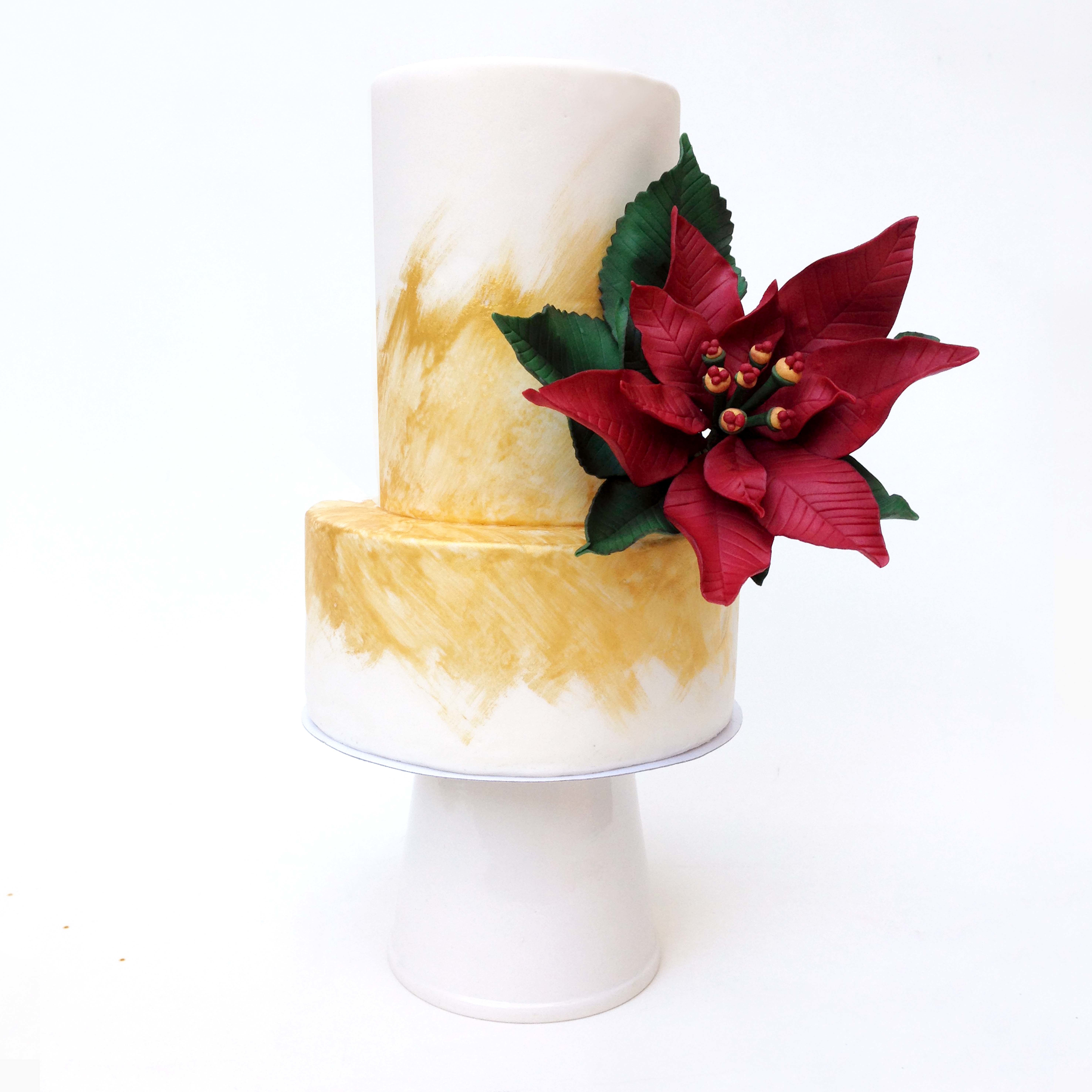 Gold and White Christmas Cake with Poinsettia