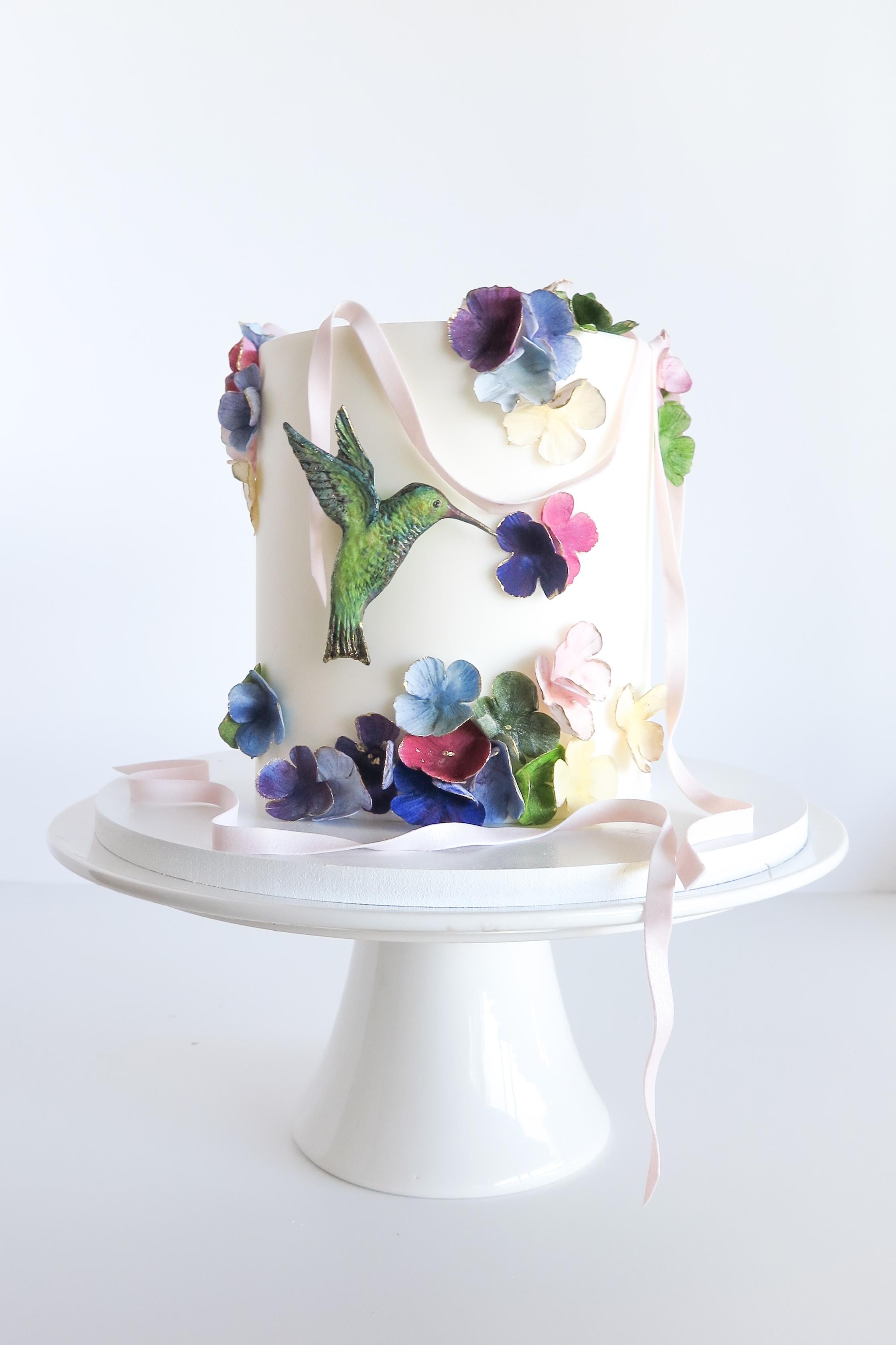 Mini white hummingbird cake