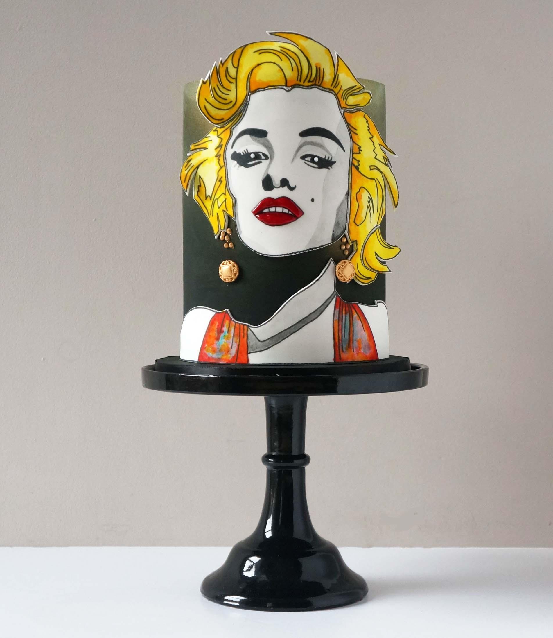 Hand painted Pop Art Marilyn Monroe cake