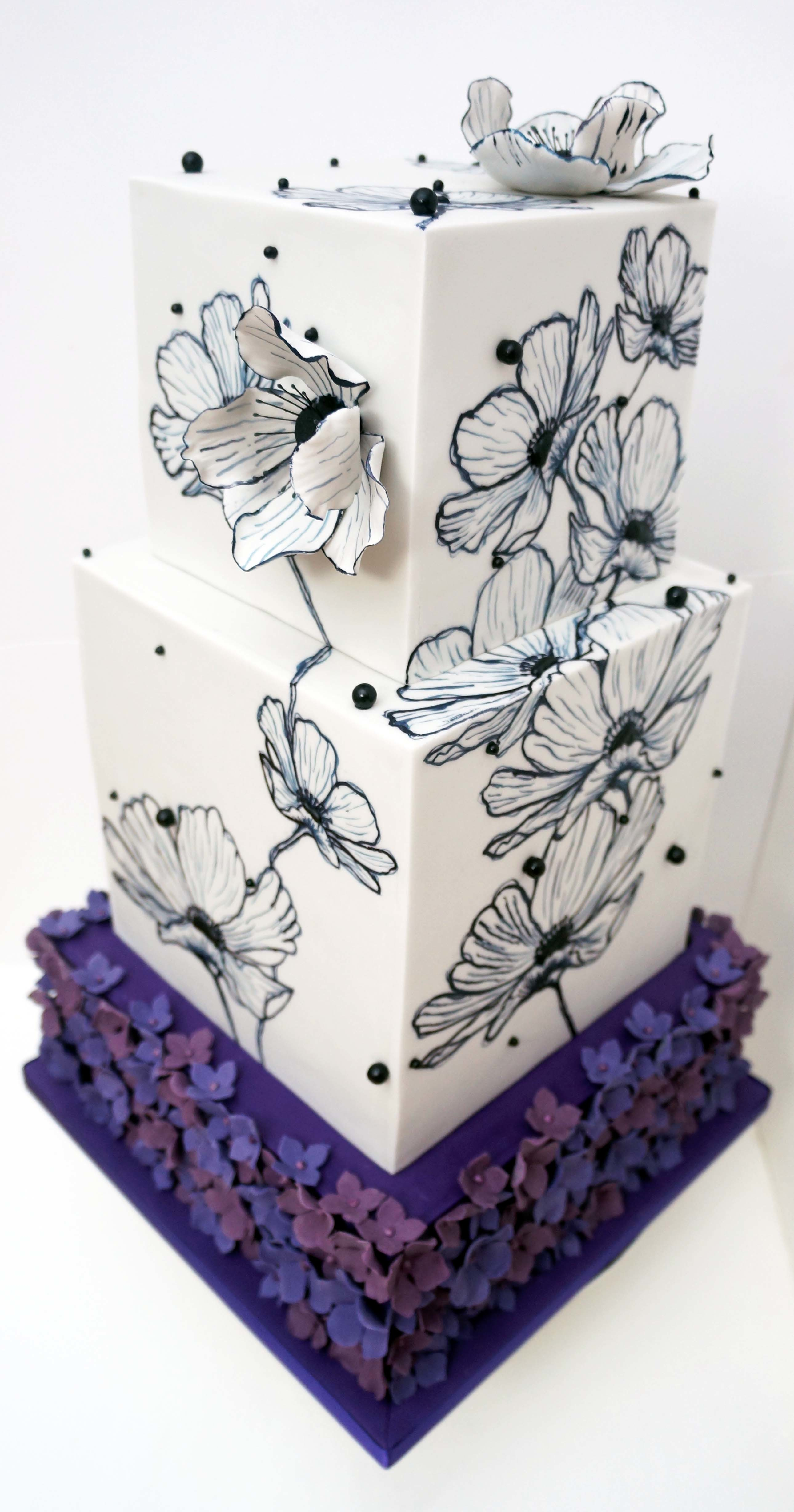 Purple and white square wedding