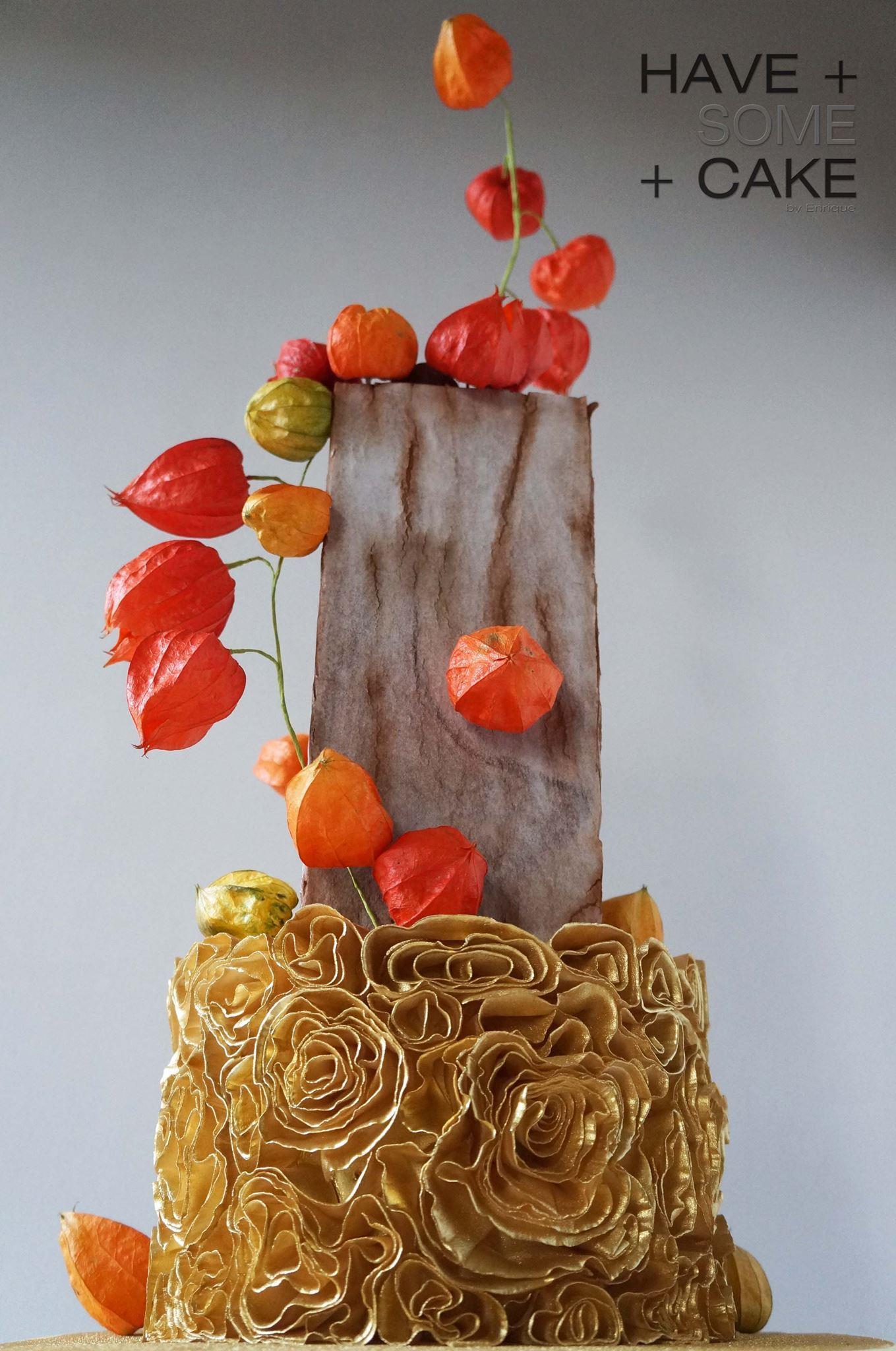 Gold Rosette wedding cake