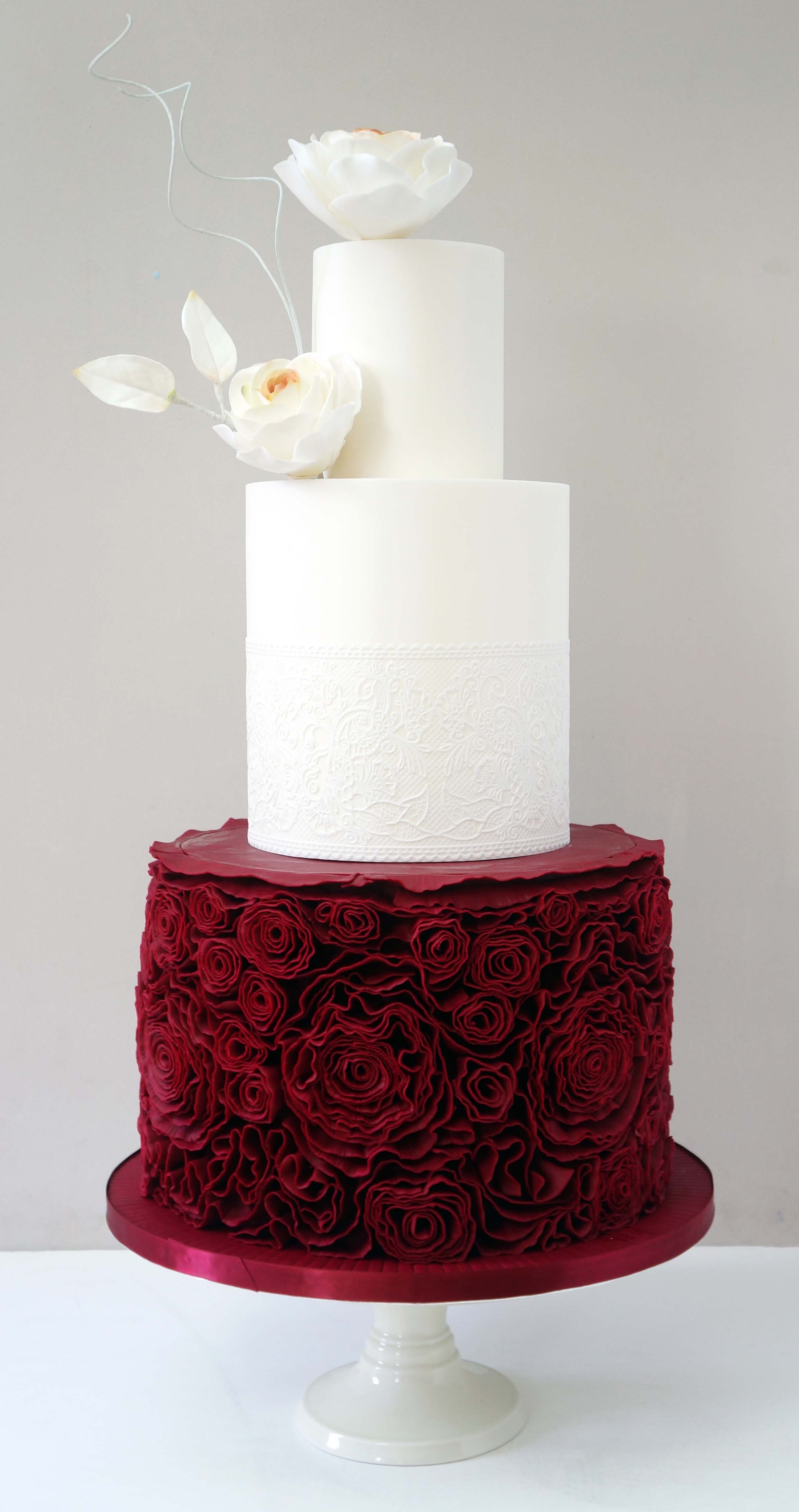 Red and white rosette wedding