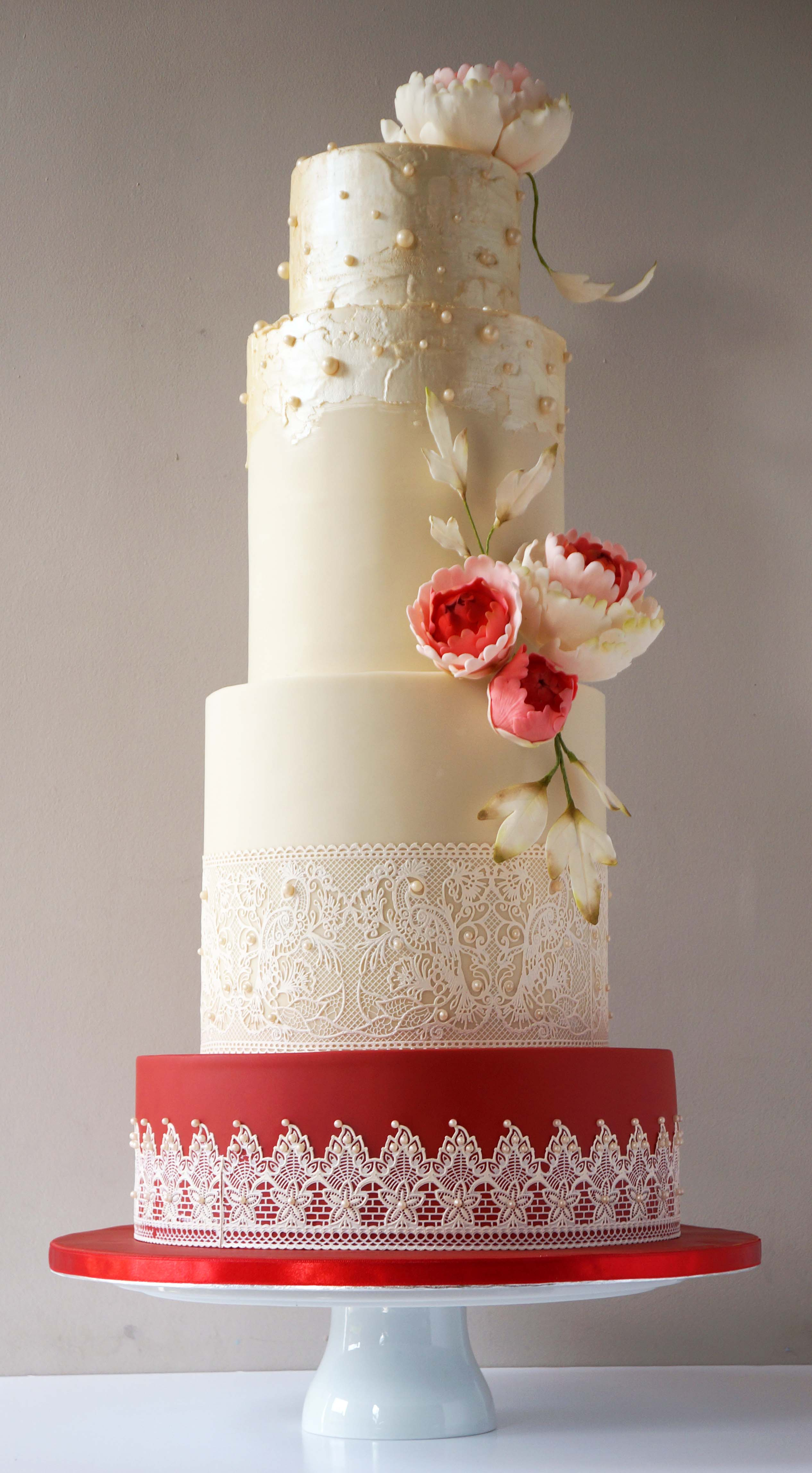 Red and ivory lace and pearls wedding