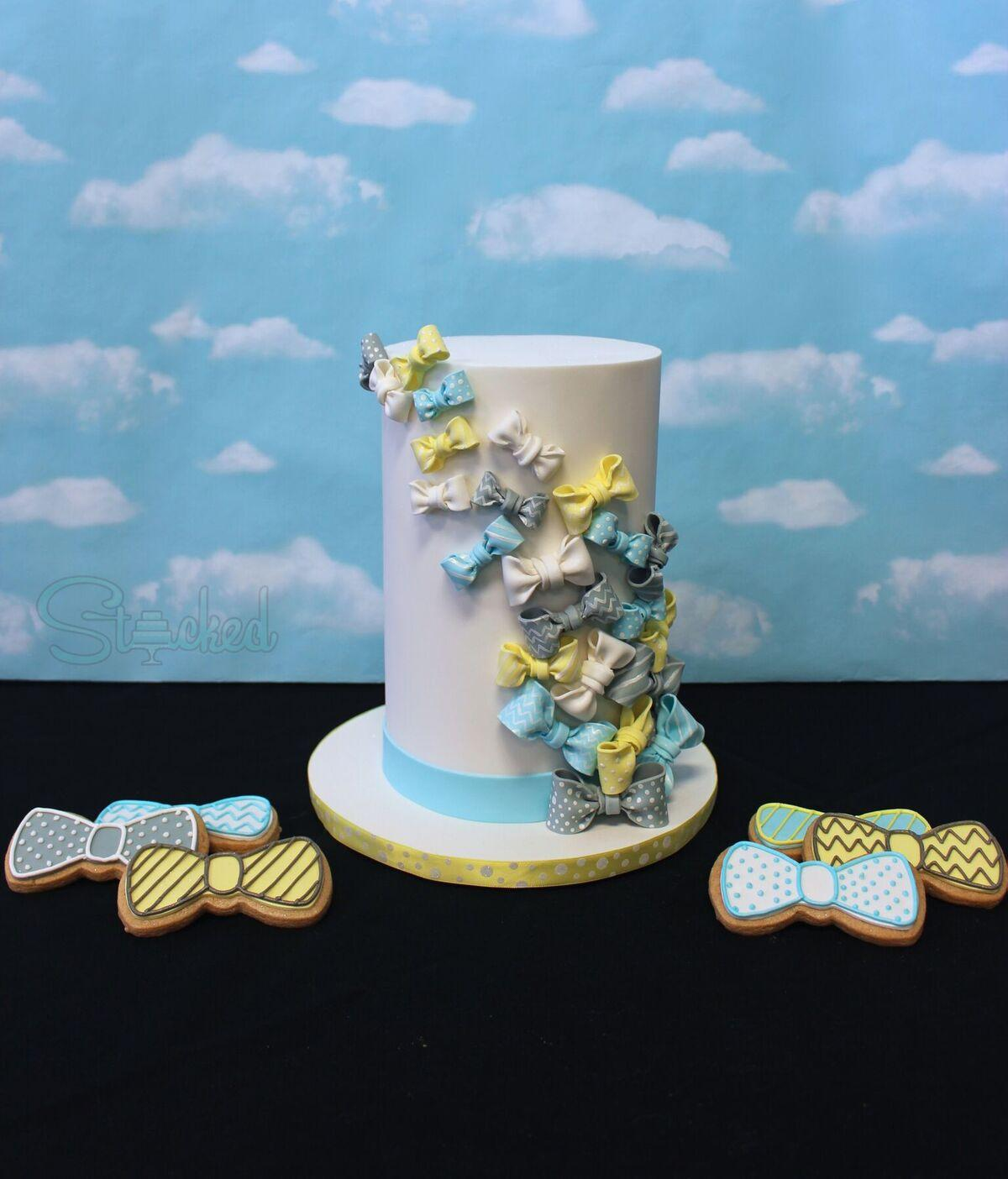 Bow tie themed baby cake