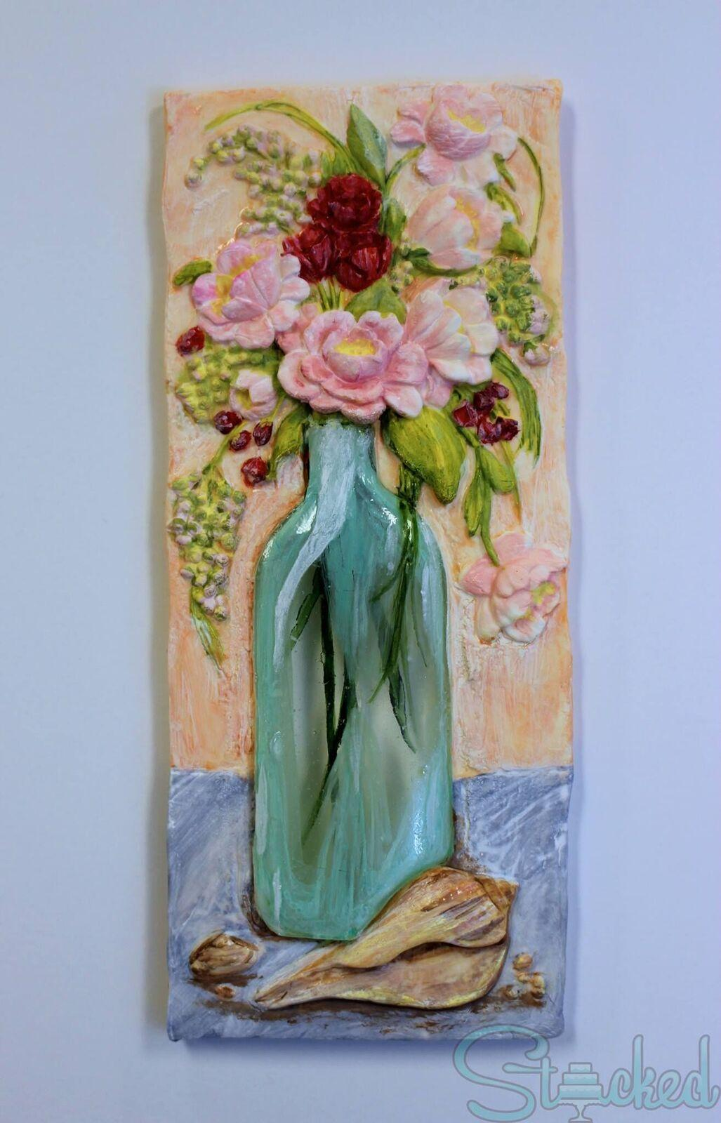 Hand painted elegant flower fondant cookie
