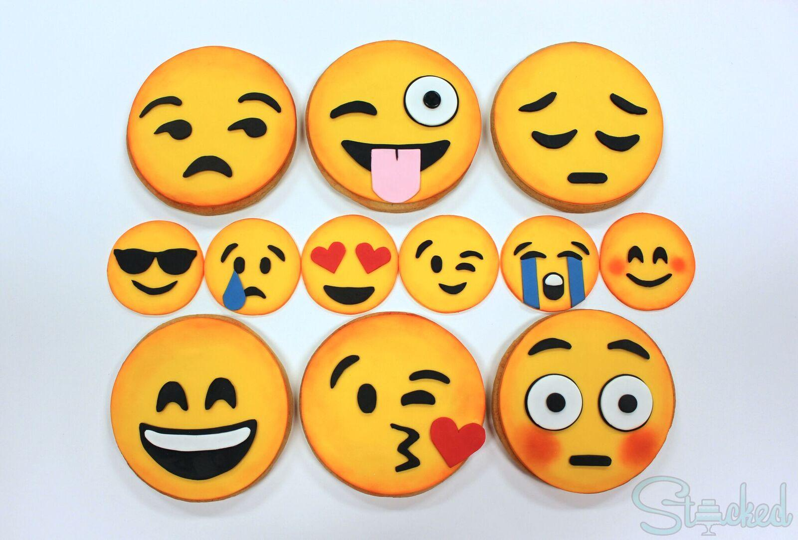 Yellow fondant emoji cookies