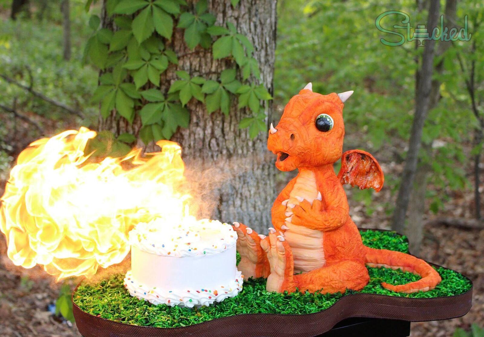 Sculpted Orange fire breathing dragonerin