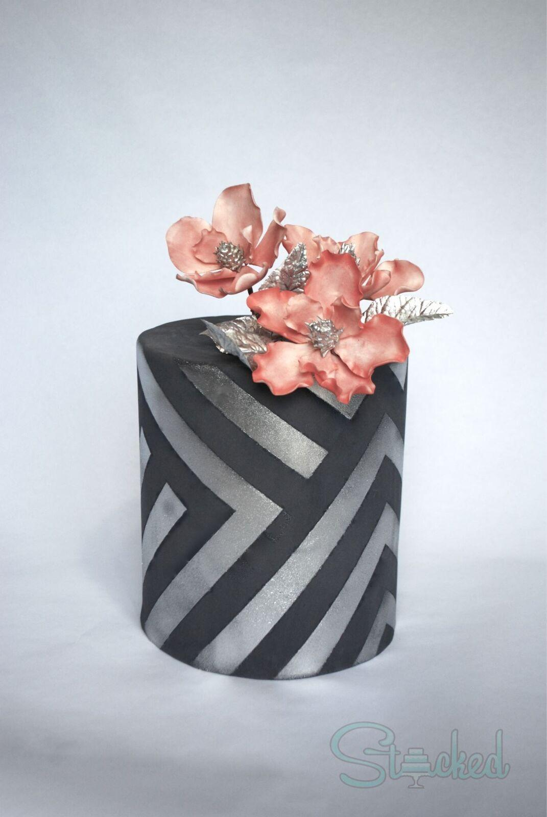 Silver and black chevron patterned wedding cake
