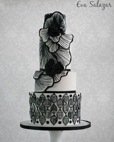 Black and white patterned wedding cake