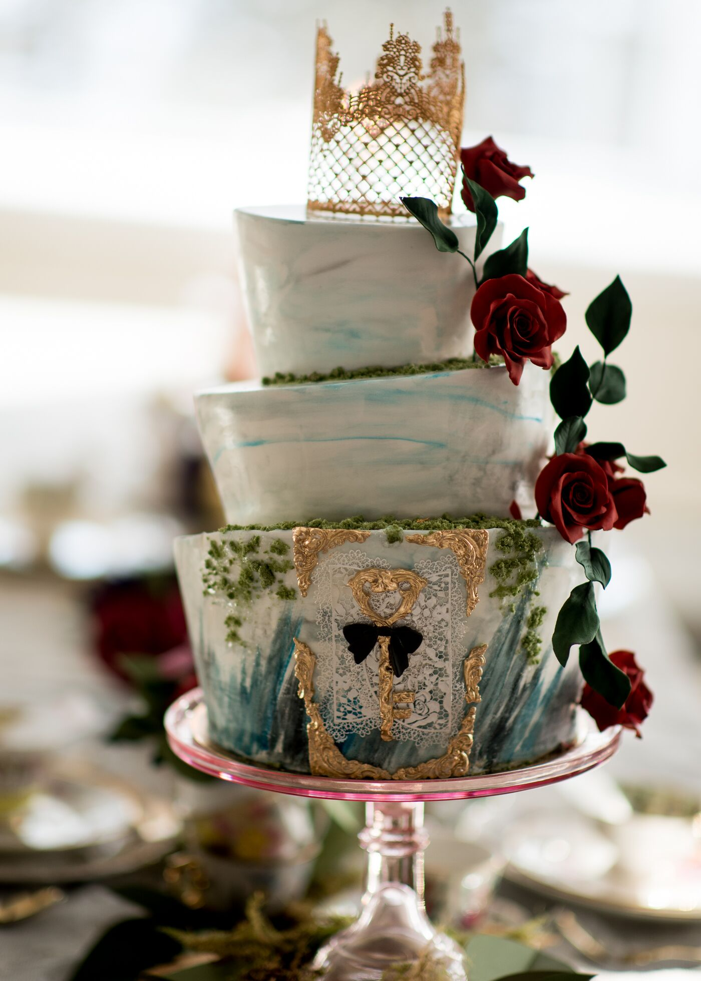 Alice in wonderland themed wedding cake