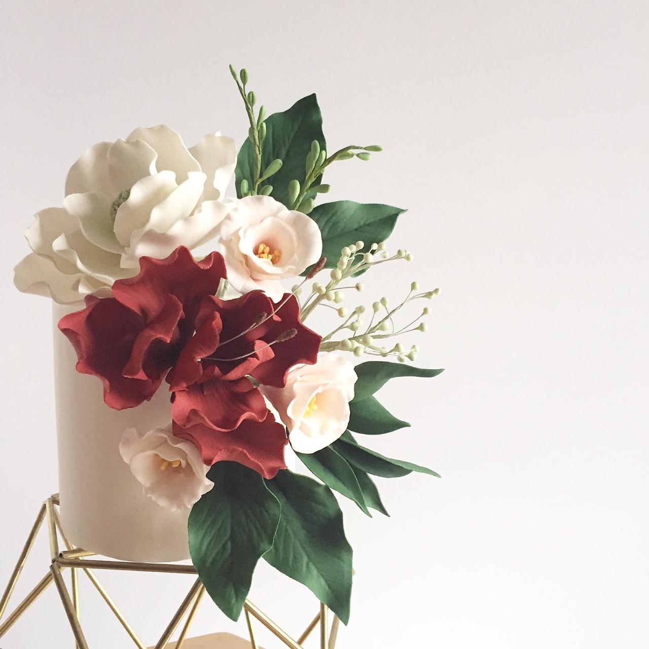 Mini Wedding with large sugar flower bouquet