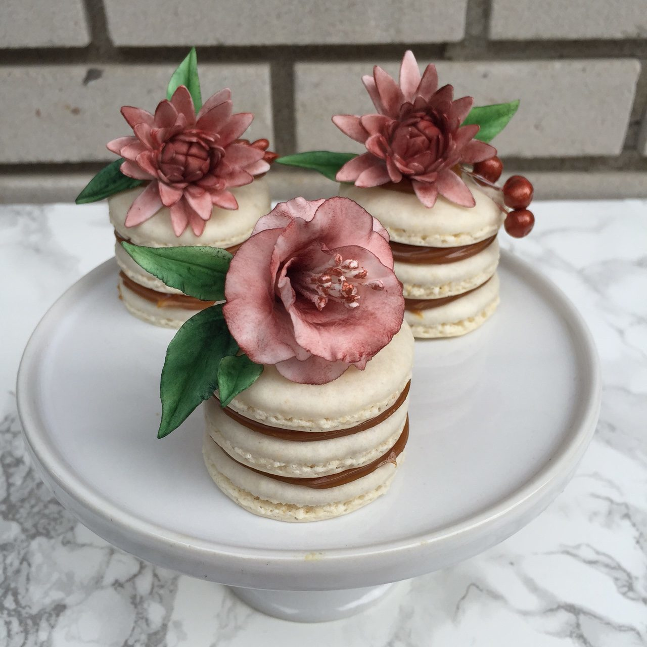 Naked petite fours with sugar flowers