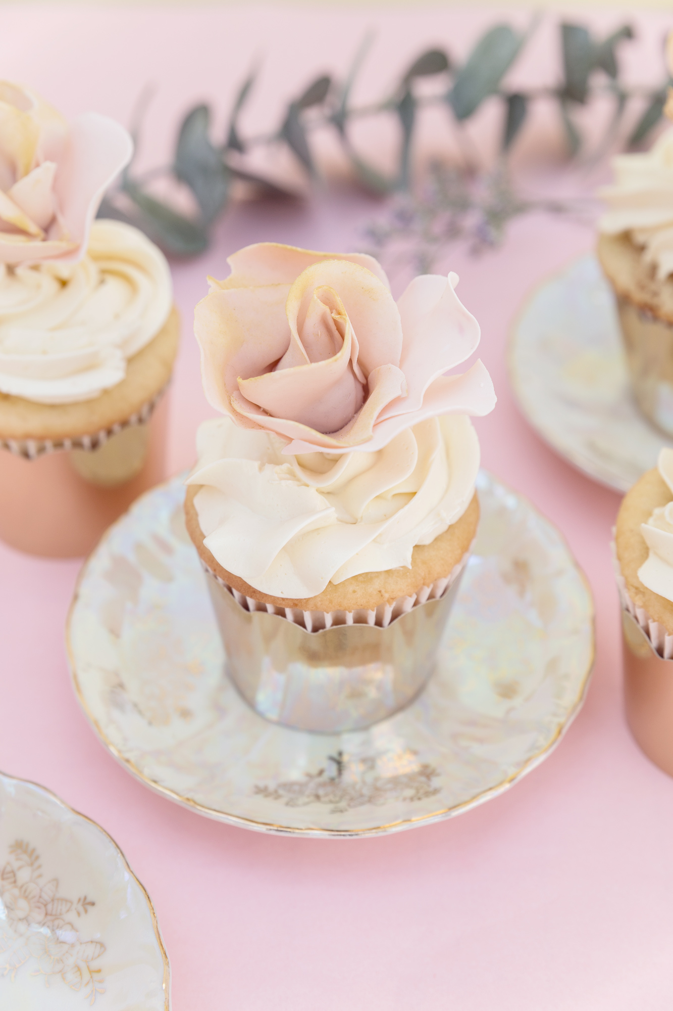 Pink and White Gum Paste Flower Cupcake