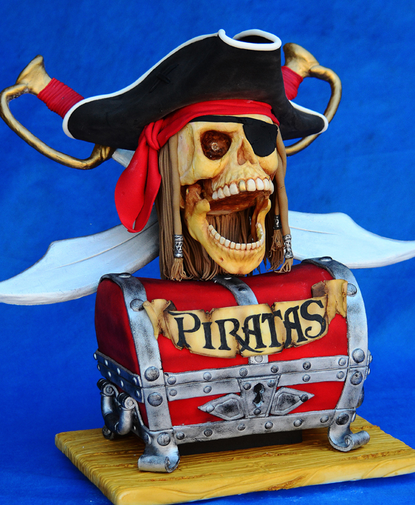 Fondant Pirate and treasure chest Birthday
