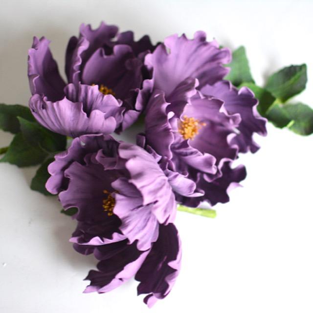 Purple sugar flowers