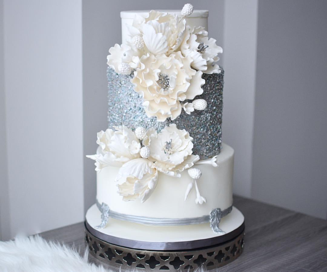 Silver and white sparkle winter wedding cake