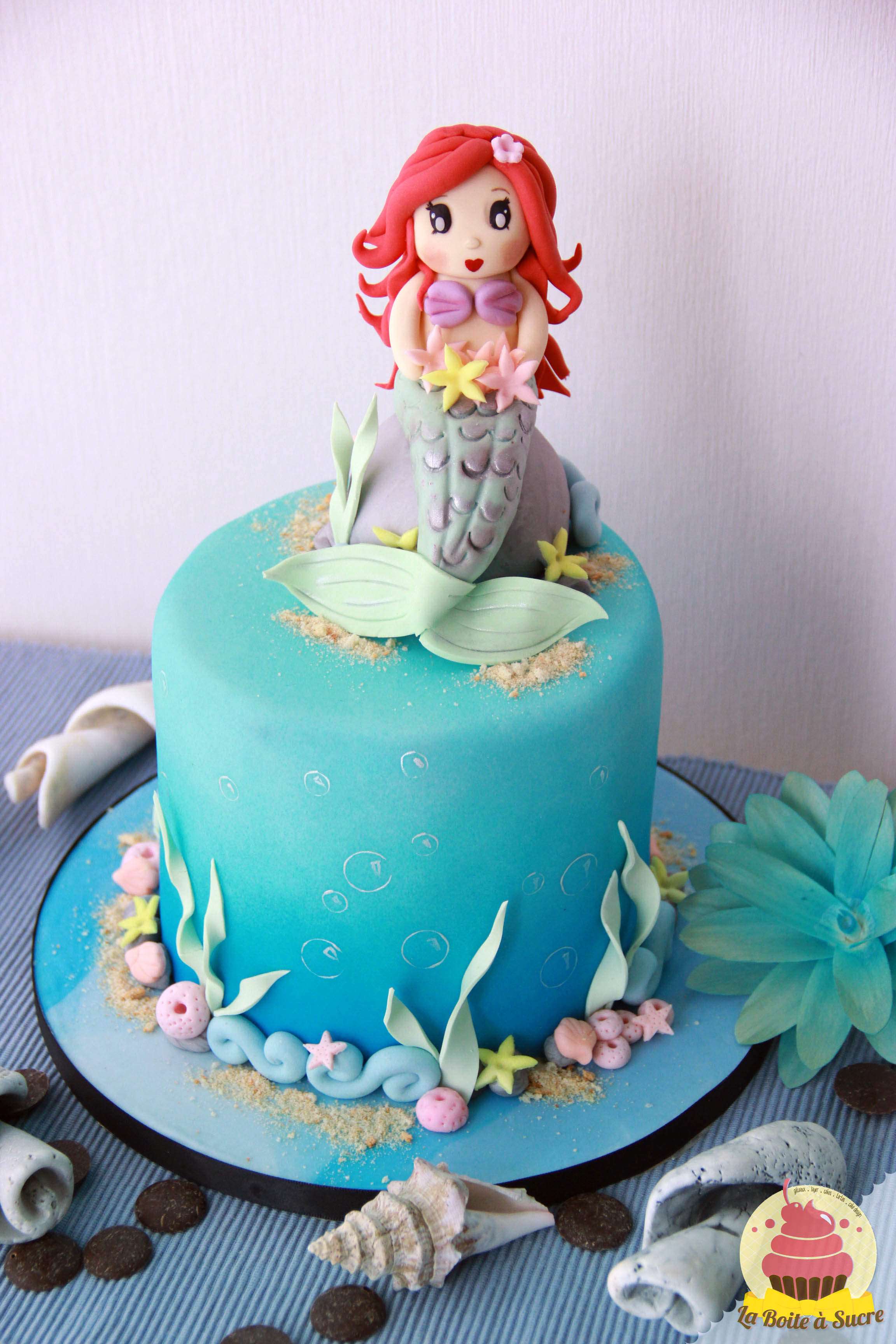 Little Mermaid themed birthday cake