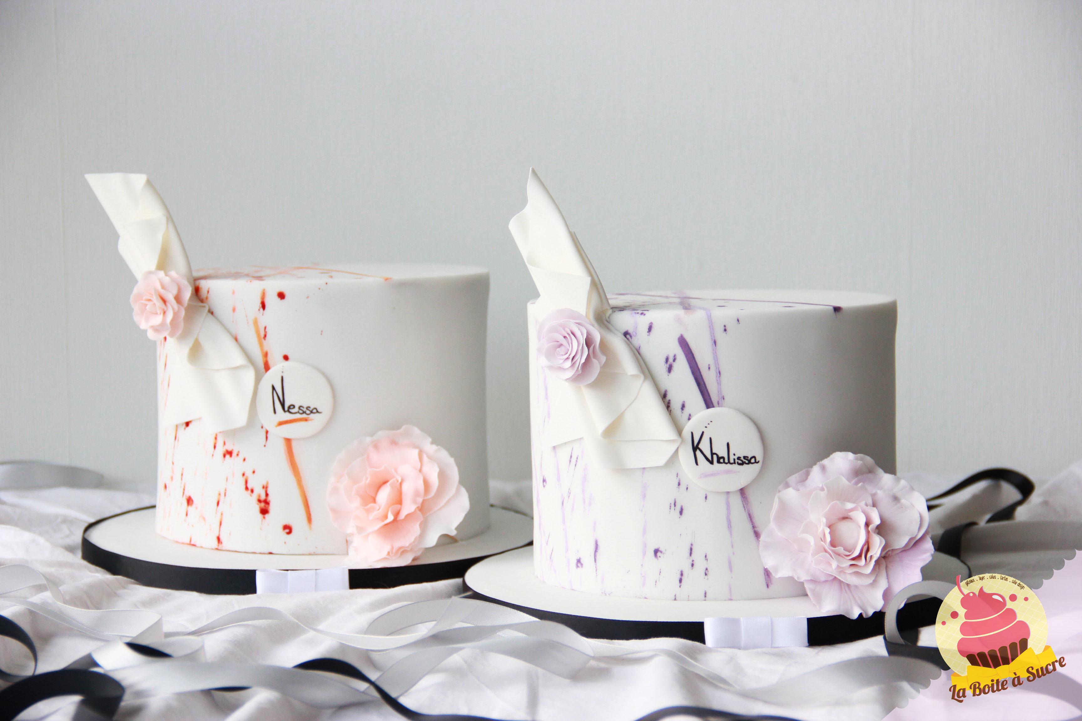 Mini White Splatter Paint Cakes