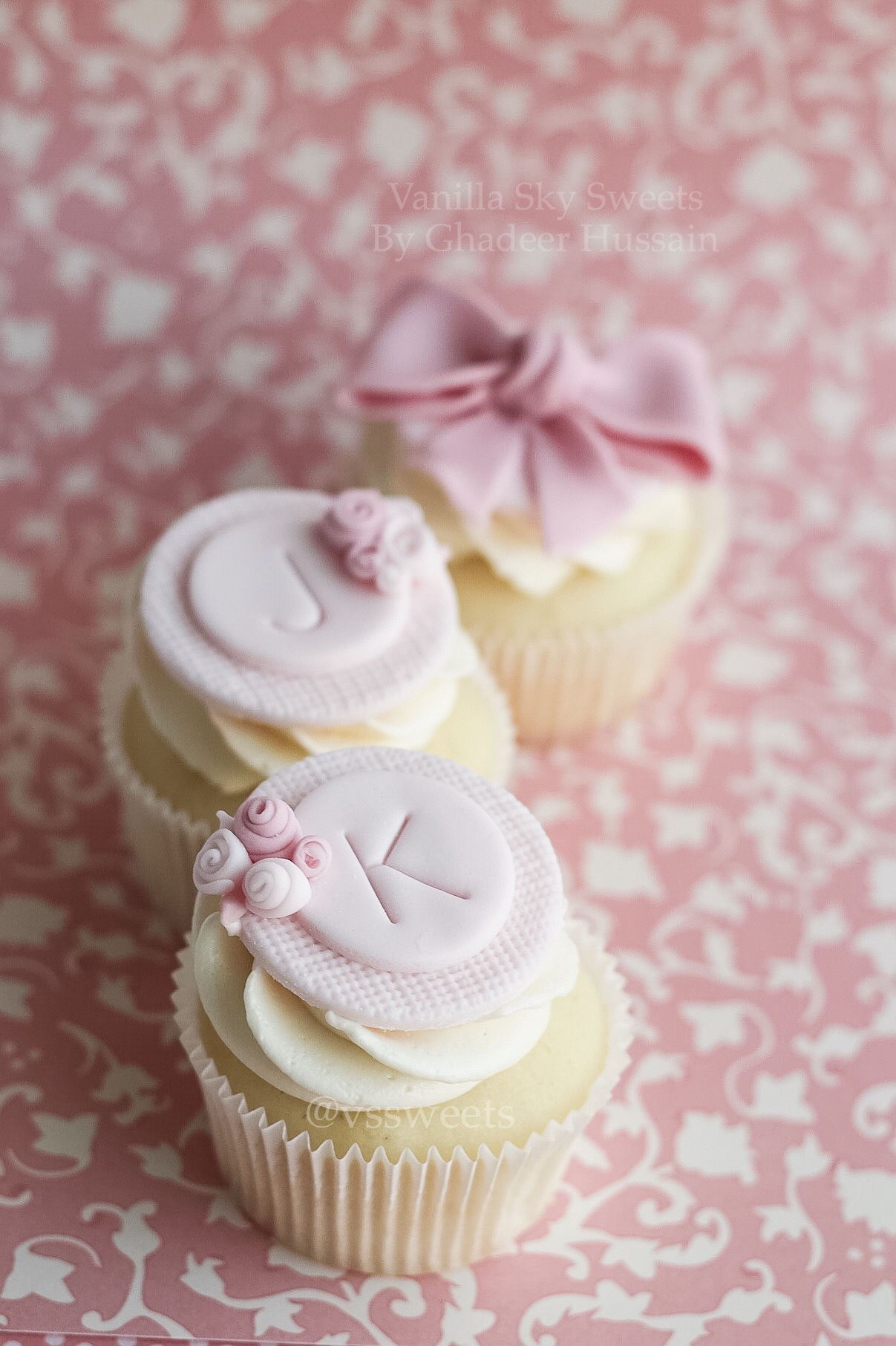 Elegant pink initial cupcake toppers