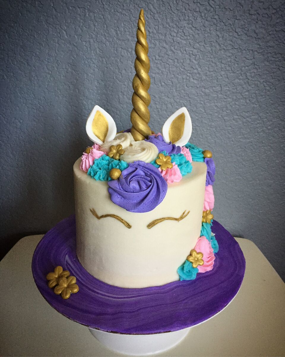 Unicorn birthday barrel cake