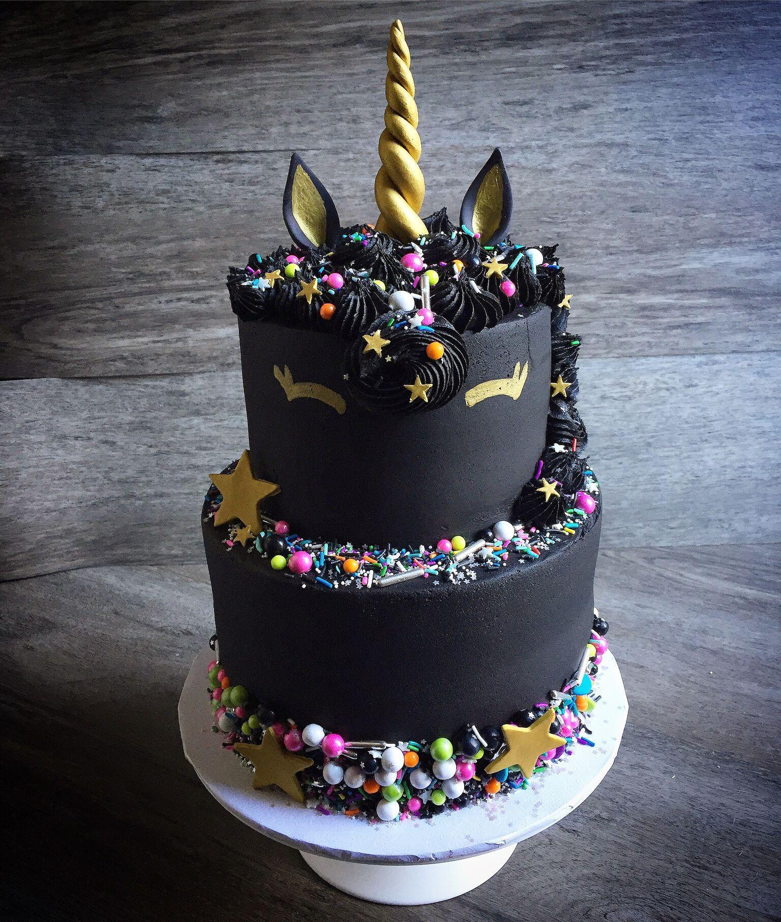 Black with gold unicorn birthday