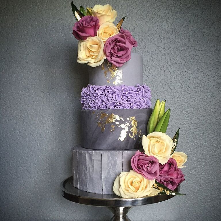 Purple and gray rosette wedding  cake