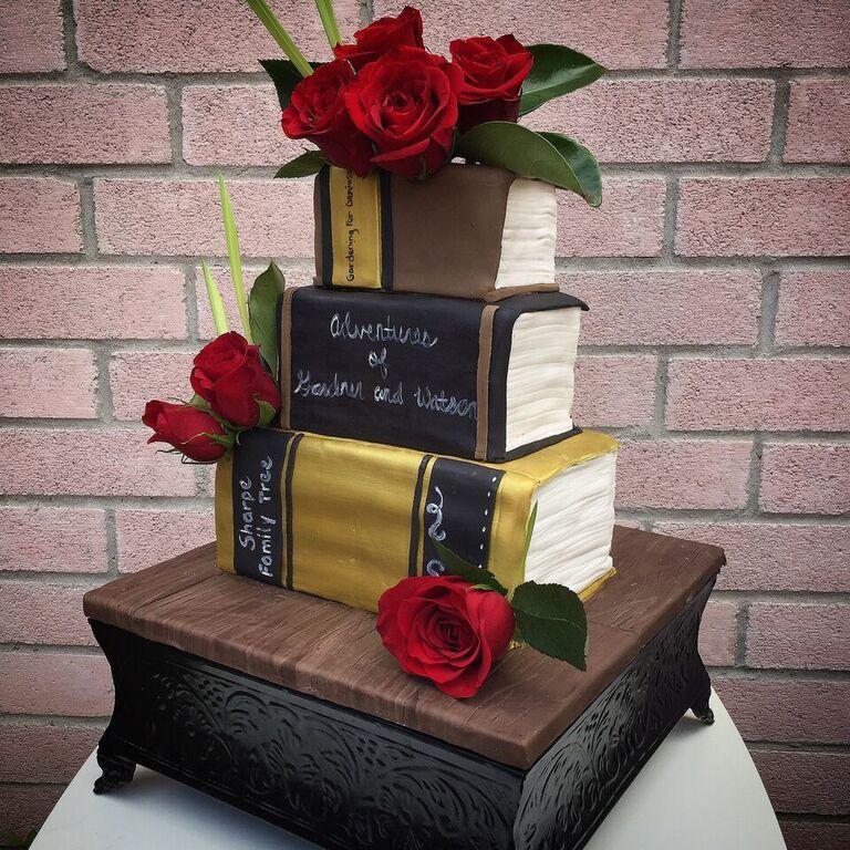Stack of books novelty wedding