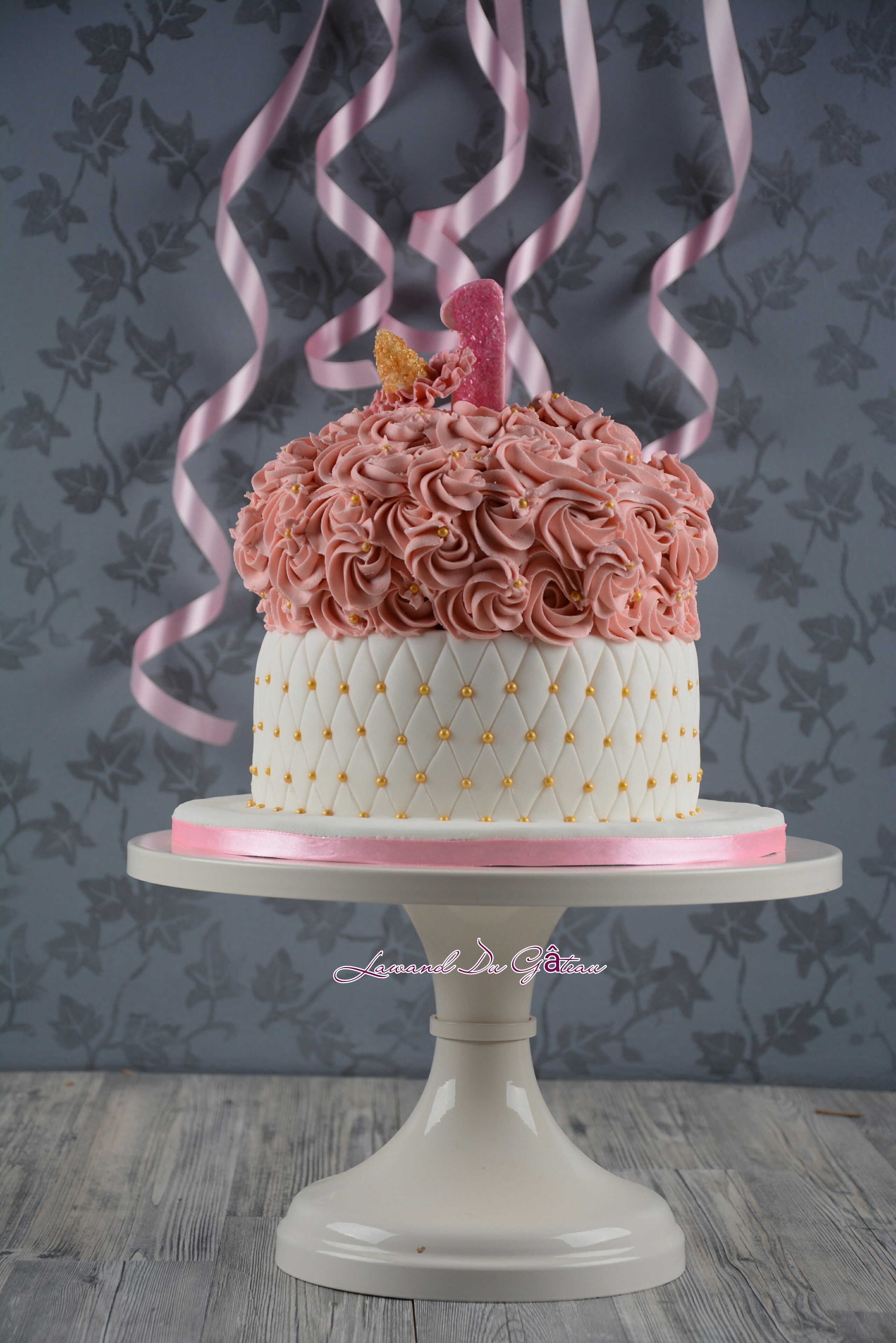 White and pink quilted birthday girl cake