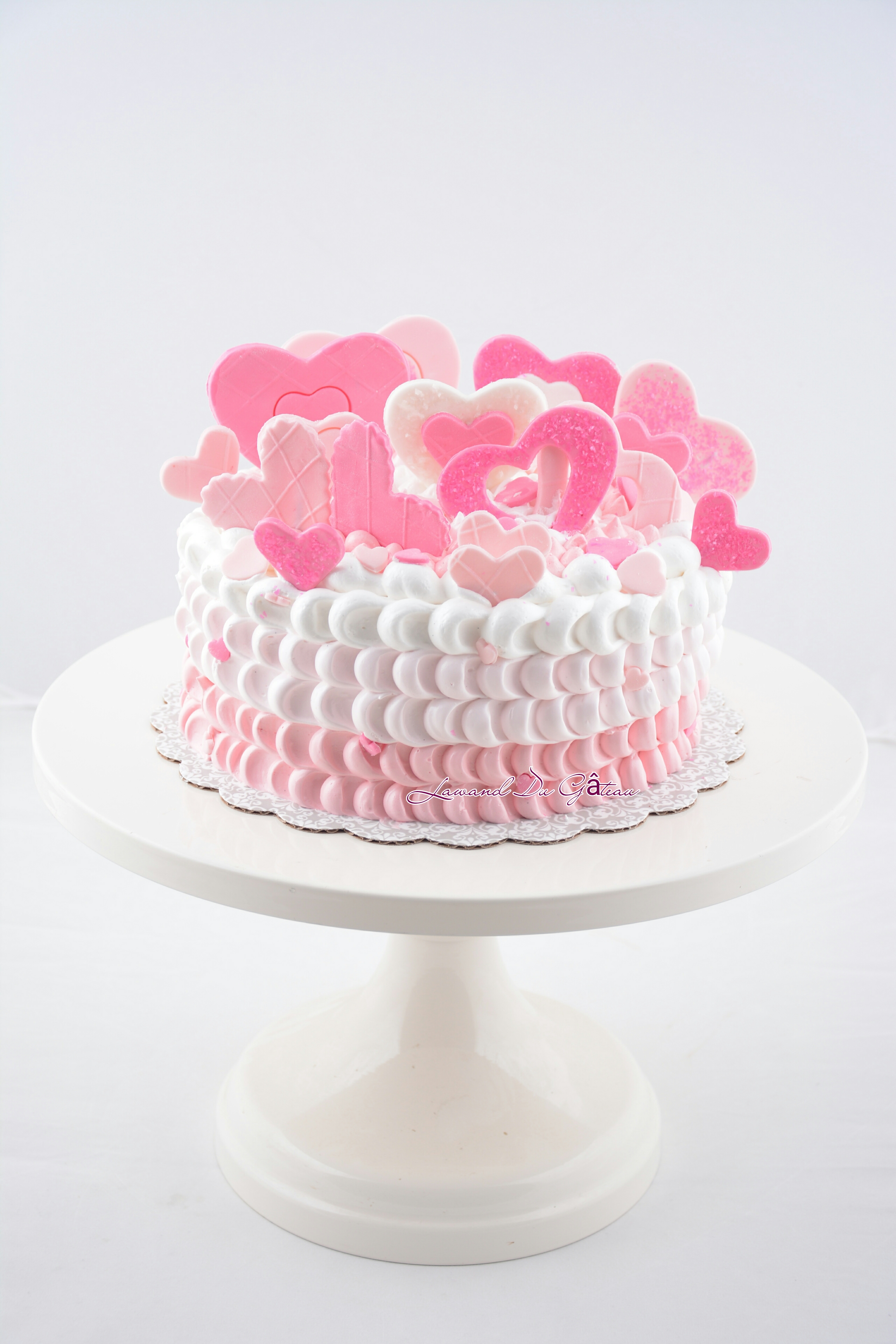 Pink and white ombre heart cake