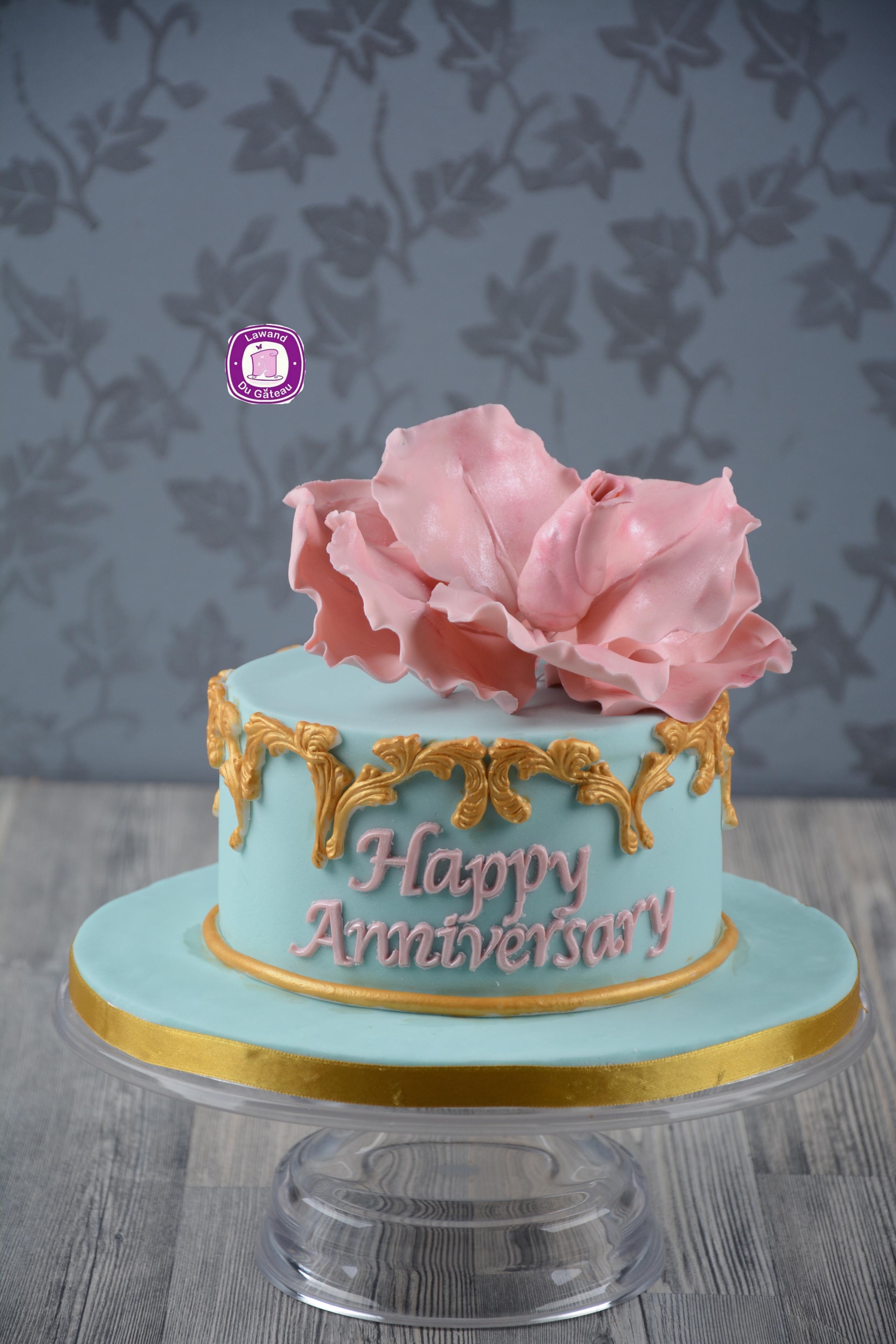Mini blue anniversary cake