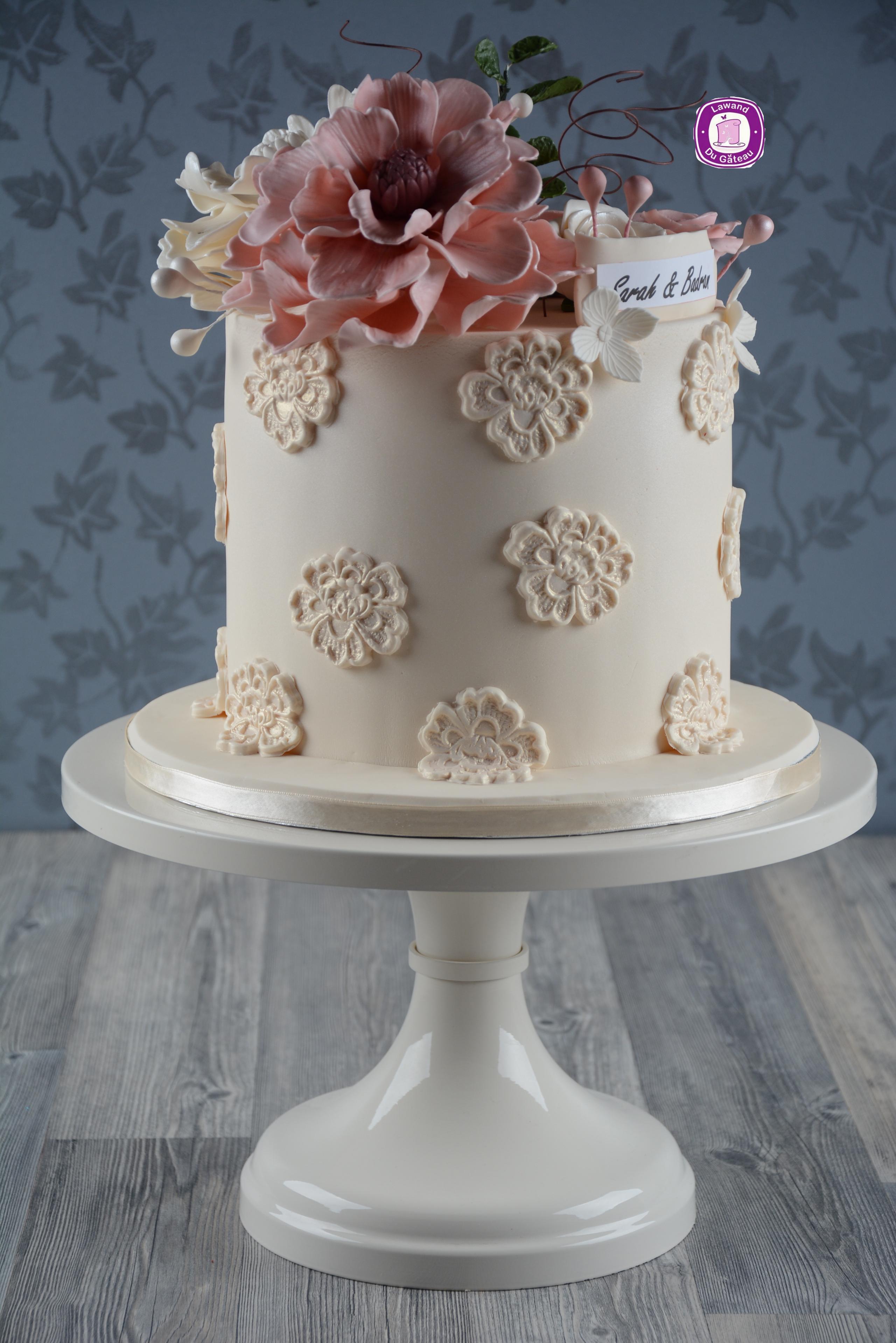 White and light pink wedding cake