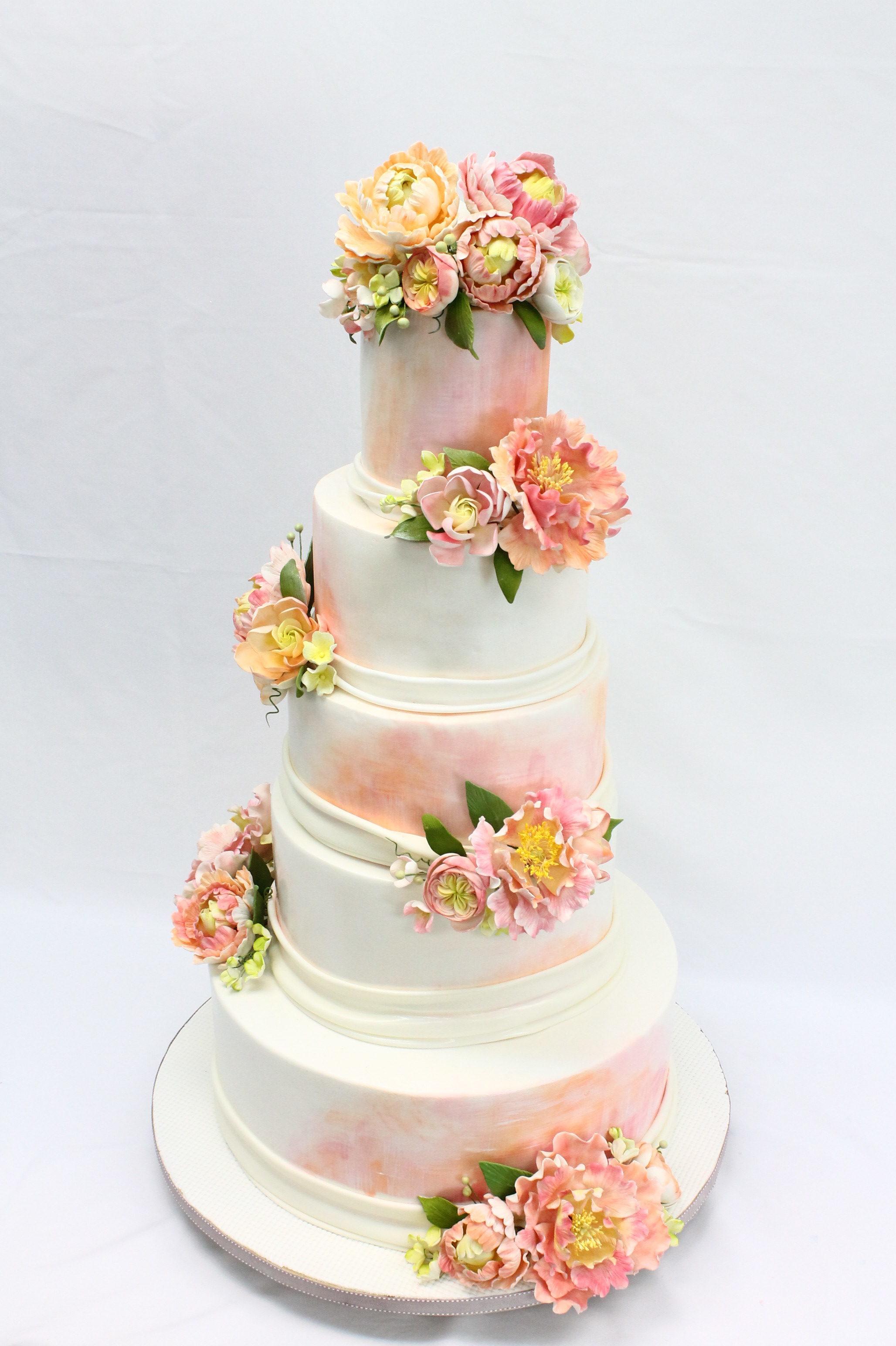 White & Peach Wedding